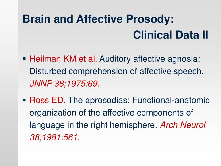 Brain and Affective Prosody: