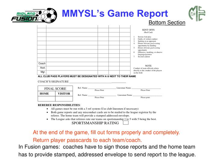 MMYSL's Game Report