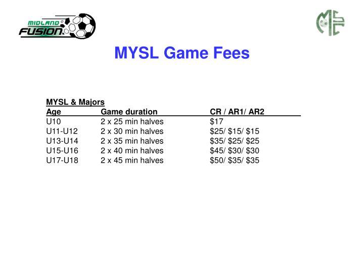 MYSL Game Fees