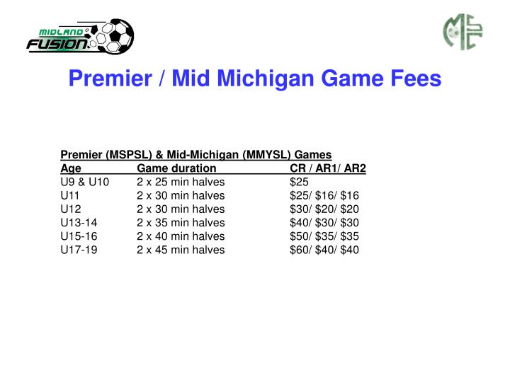 Premier / Mid Michigan Game Fees