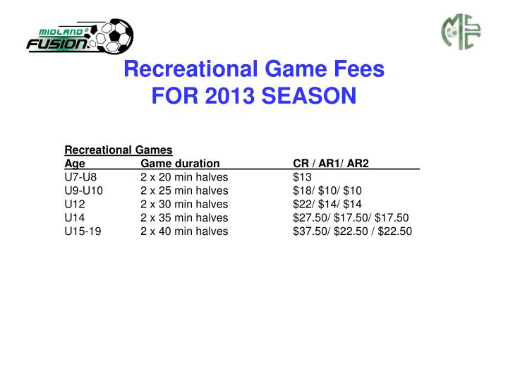 Recreational Game Fees