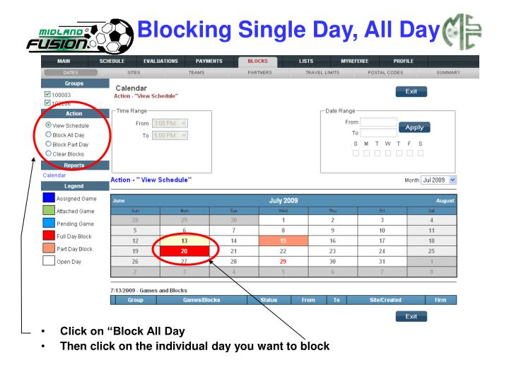 Blocking Single Day, All Day