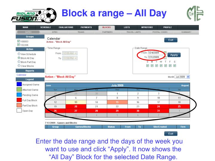 Block a range – All Day