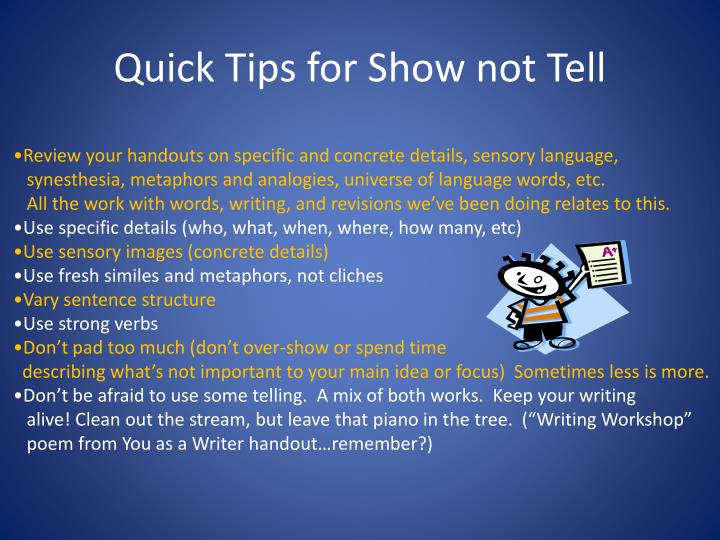Quick Tips for Show not Tell