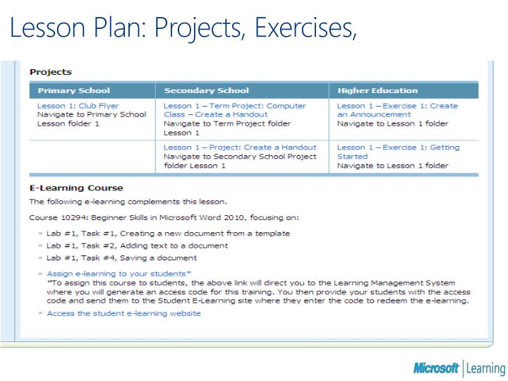 Lesson Plan: Projects, Exercises,