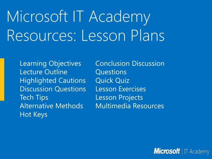 Microsoft IT Academy Resources: Lesson Plans