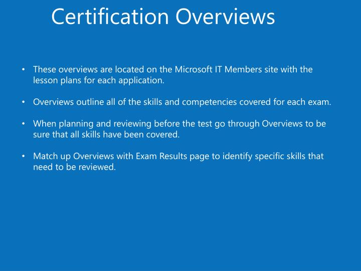 Certification Overviews