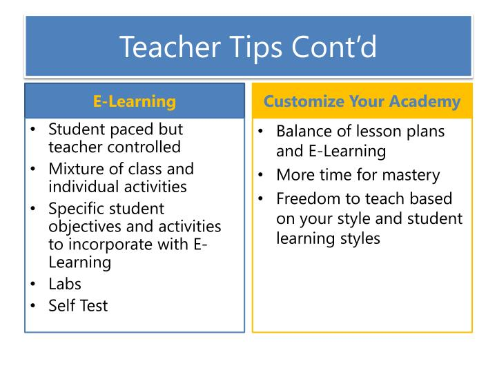Teacher Tips Cont'd