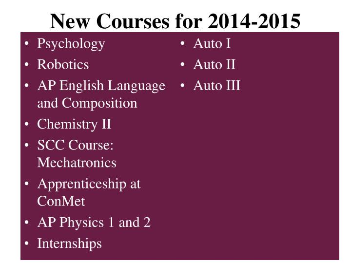 New Courses for 2014-2015
