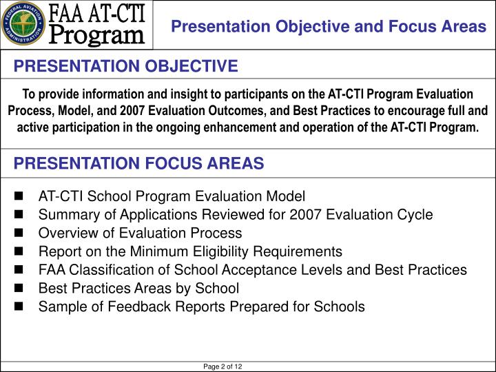 Presentation Objective and Focus Areas