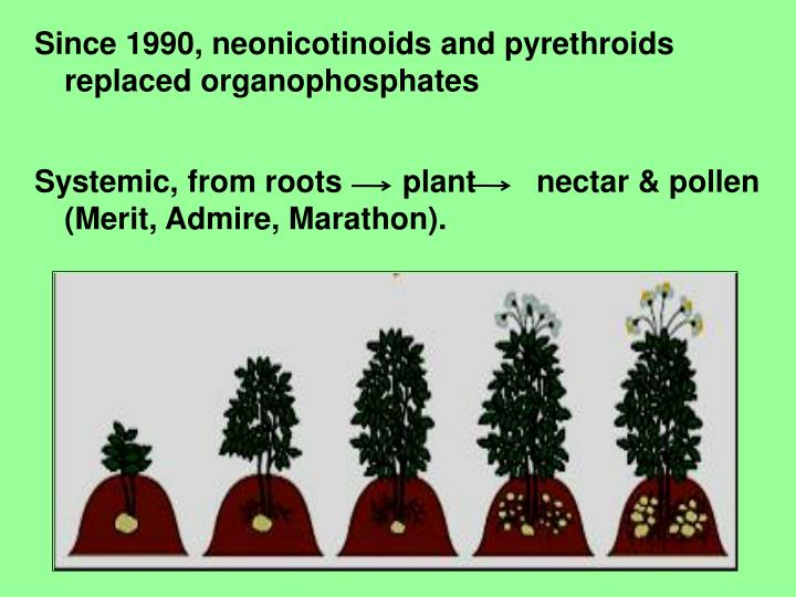 Since 1990, neonicotinoids and pyrethroids replaced organophosphates