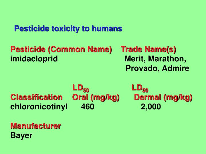 Pesticide toxicity to humans