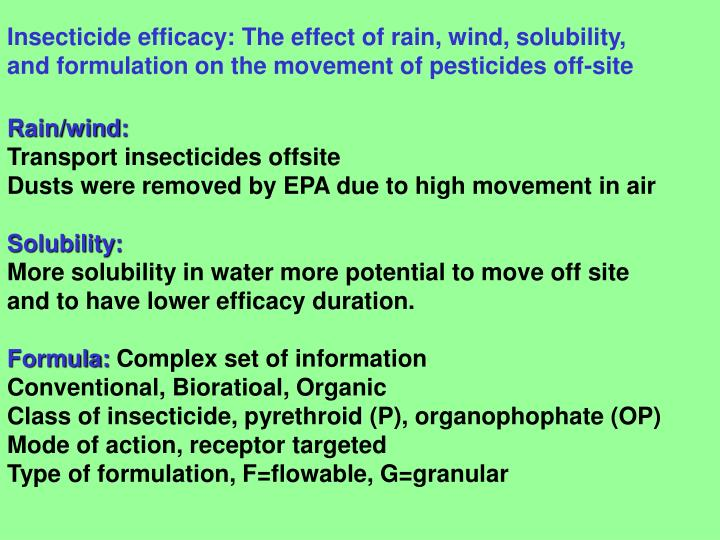Insecticide efficacy: The effect of rain, wind, solubility, and formulation on the movement of pesticides off-site