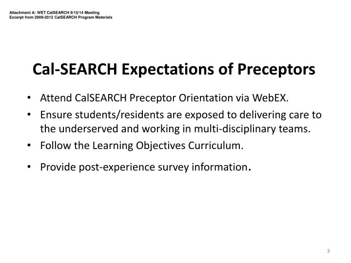Cal search expectations of preceptors