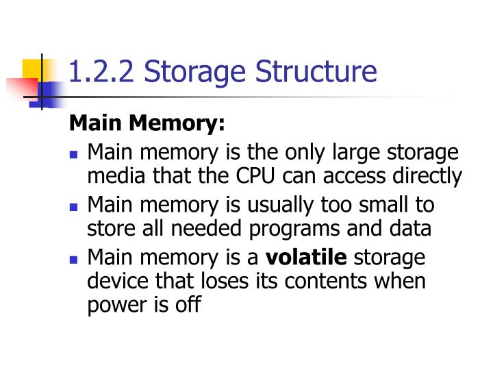 1.2.2 Storage Structure