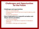 challenges and opportunities for the future
