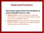 goals and functions