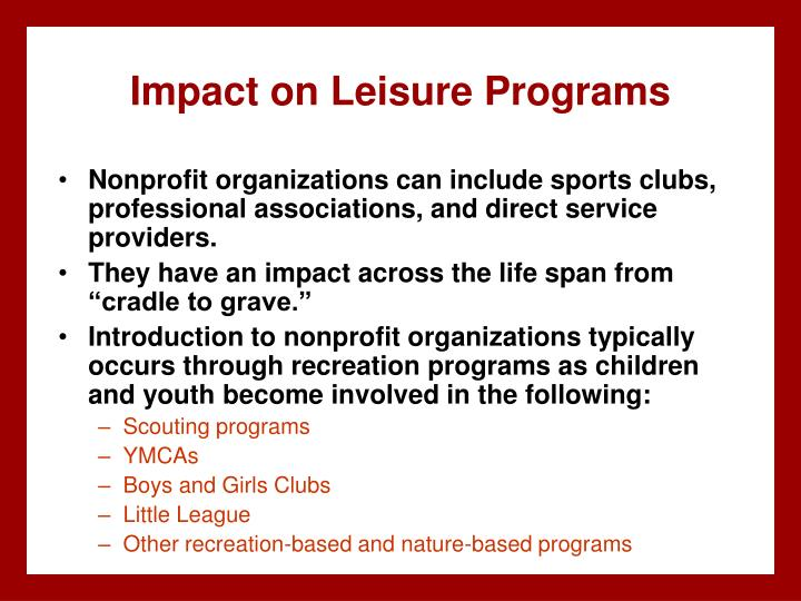Impact on Leisure Programs