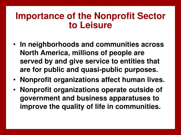 Importance of the nonprofit sector to leisure