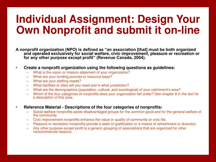 Individual Assignment: Design Your Own Nonprofit and submit it on-line