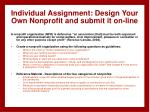 individual assignment design your own nonprofit and submit it on line