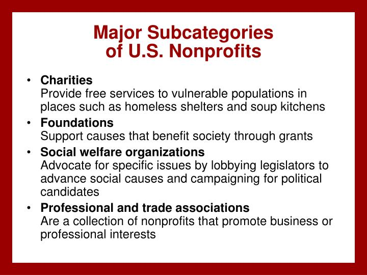 Major Subcategories