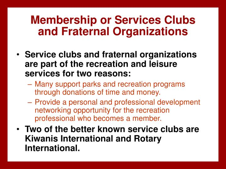 Membership or Services Clubs
