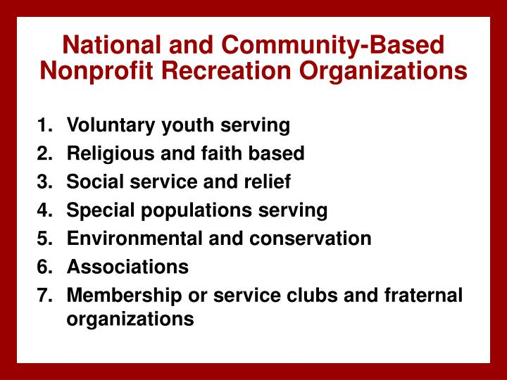 National and Community-Based