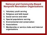 national and community based nonprofit recreation organizations