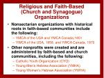 religious and faith based church and synagogue organizations