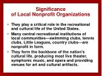 significance of local nonprofit organizations