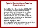special populations serving organizations