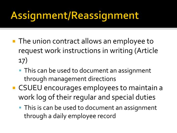 Assignment/Reassignment