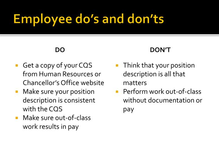 Employee do's and don'ts