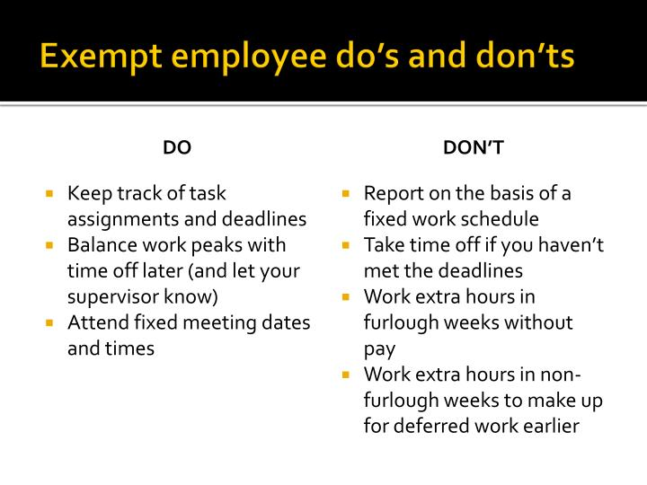 Exempt employee do's and don'ts