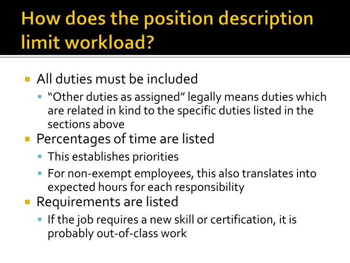 How does the position description limit workload?