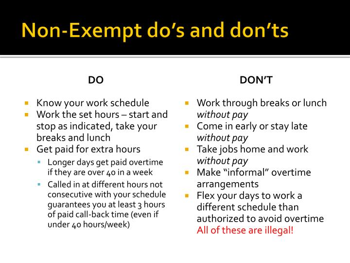 Non-Exempt do's and don'ts