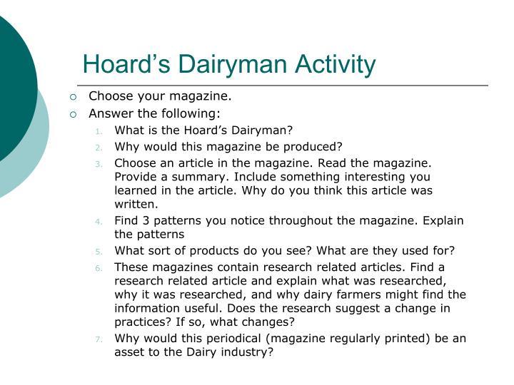 Hoard's Dairyman Activity