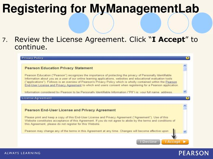 Registering for MyManagementLab