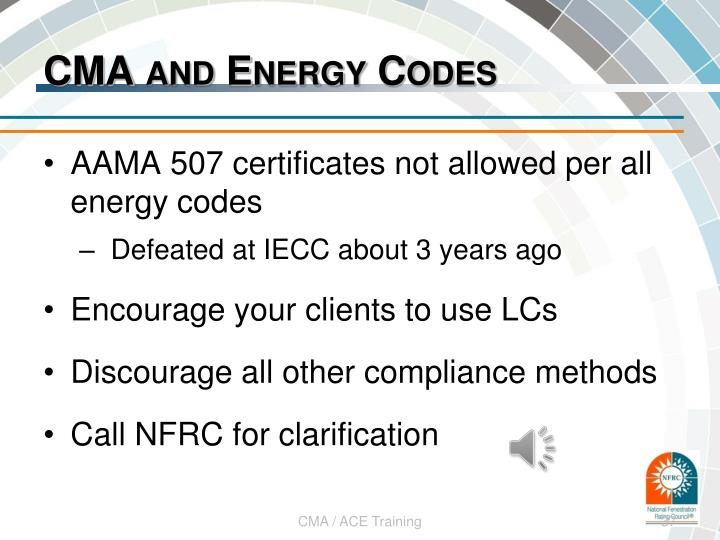 CMA and Energy Codes