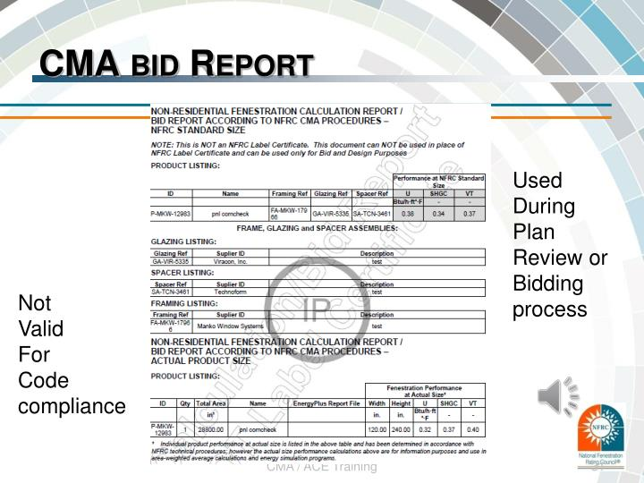CMA bid Report