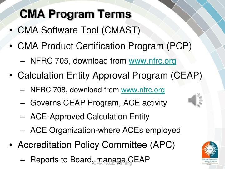 CMA Program Terms