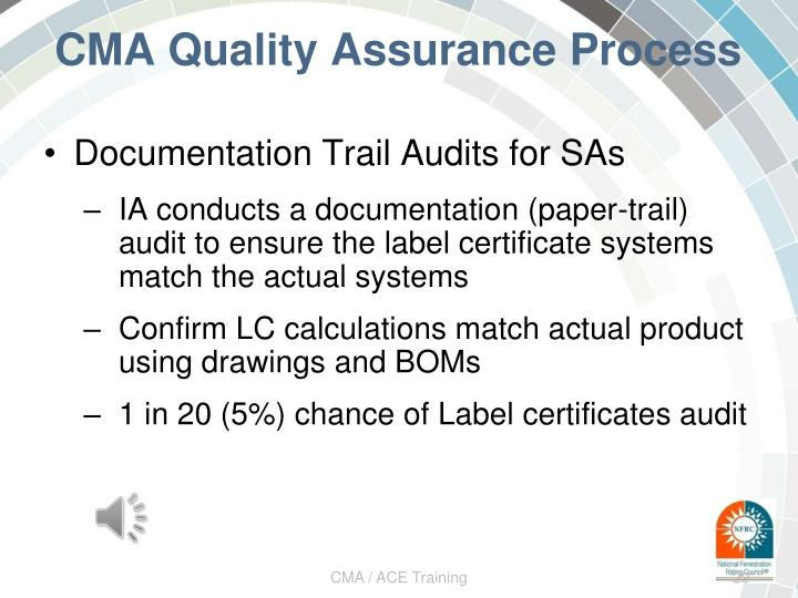 CMA Quality Assurance Process