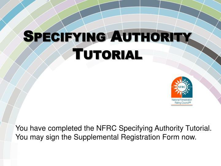 Specifying Authority