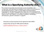 what is a specifying authority sa