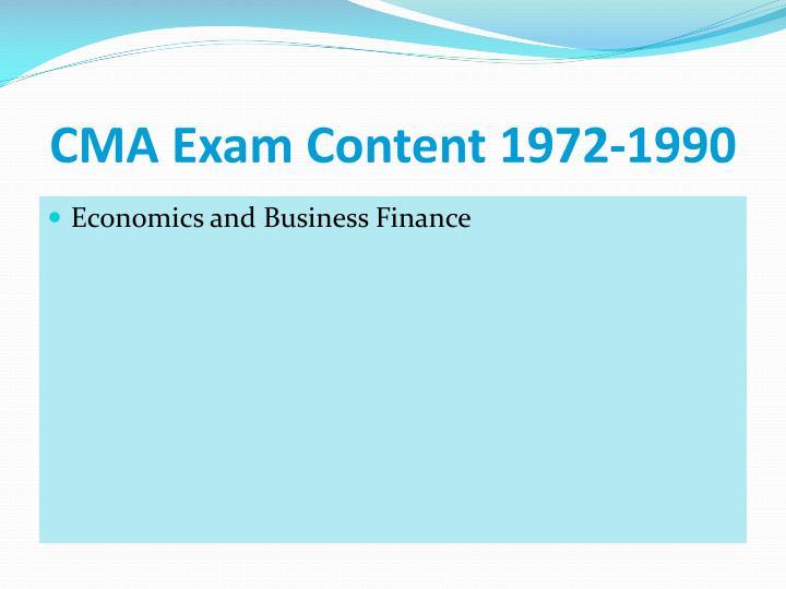 CMA Exam Content 1972-1990