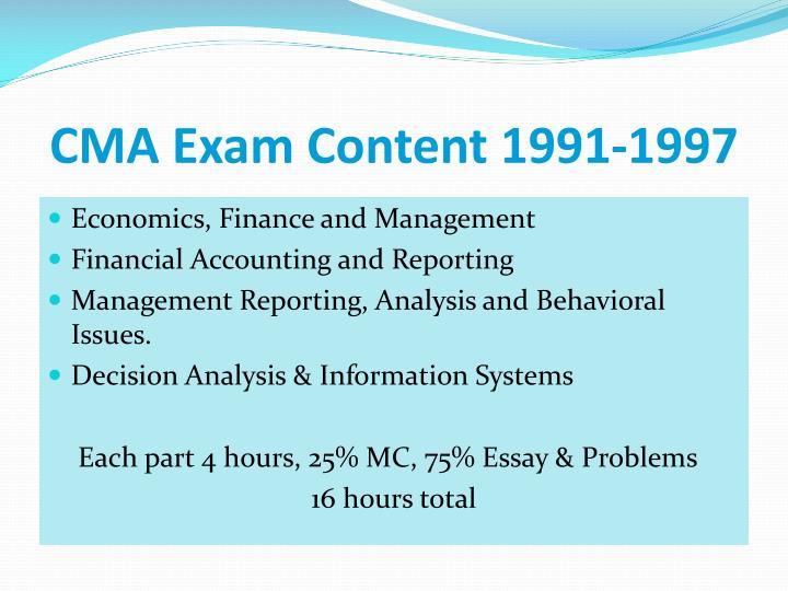 CMA Exam Content 1991-1997