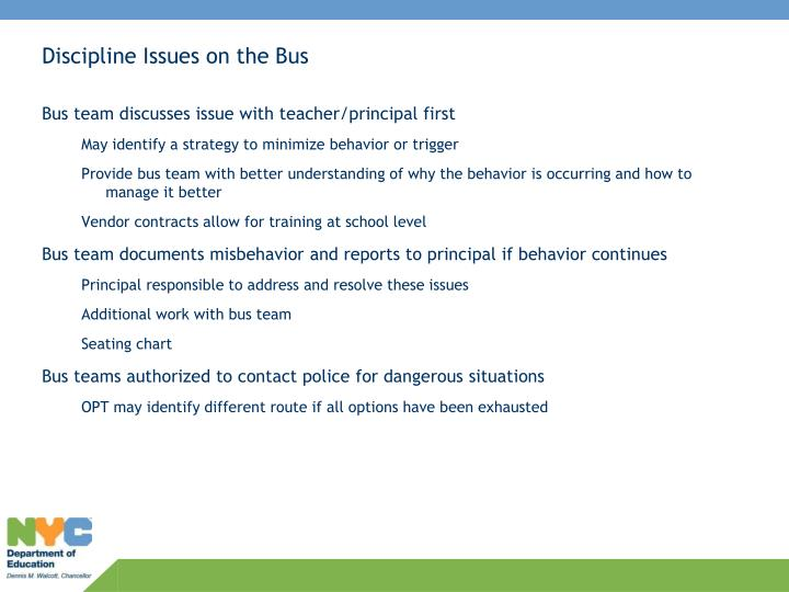 Discipline Issues on the Bus