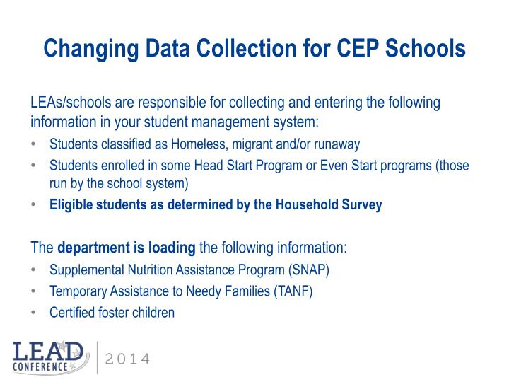 Changing Data Collection for CEP Schools
