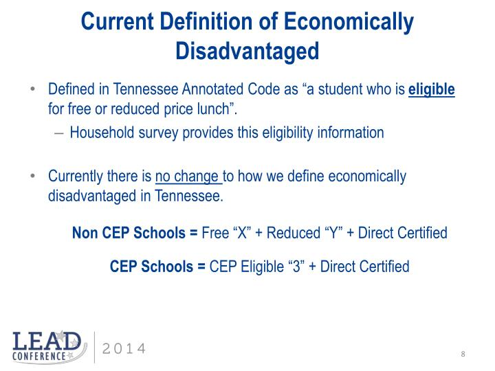 Current Definition of Economically Disadvantaged